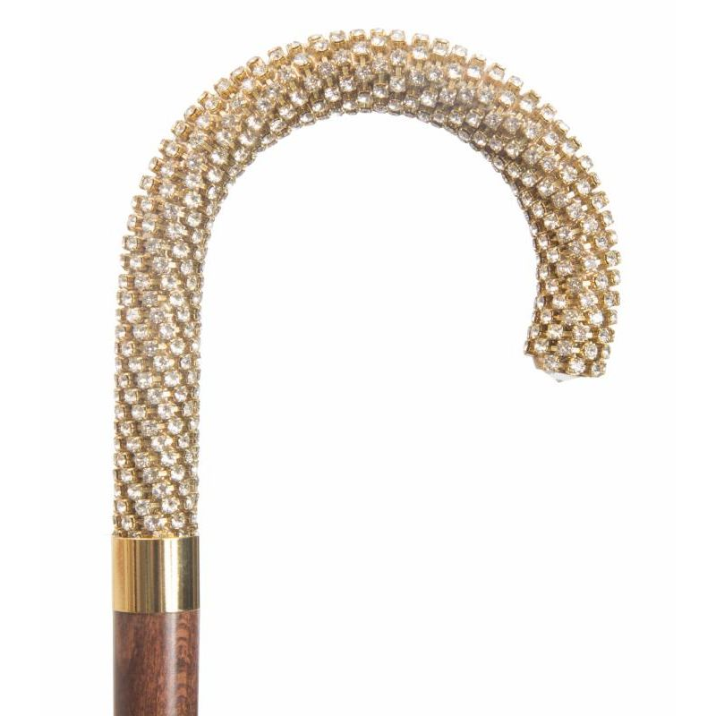 Hardwood Crook Cane with Swarovski Handle